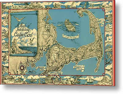 Illustrative Map Of Cape Cod 1945 Metal Print by Mountain Dreams