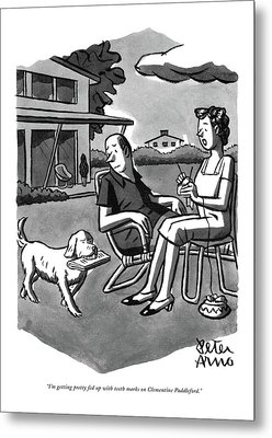 I'm Getting Pretty Fed Up With Teeth Marks Metal Print by Peter Arno