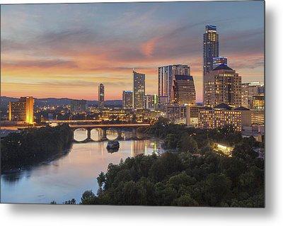 The Austin Skyline On A Summer Evening 1 Metal Print