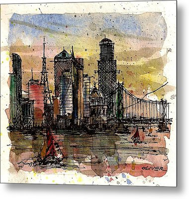 Metal Print featuring the mixed media Imaginary Skyline by Tim Oliver