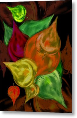 Imagine Leaves Metal Print by Christine Fournier