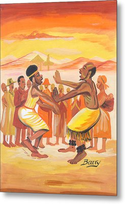 Metal Print featuring the painting Imbiyino Dance From Rwanda by Emmanuel Baliyanga