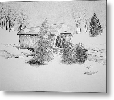 Imes Snow Bridge Metal Print