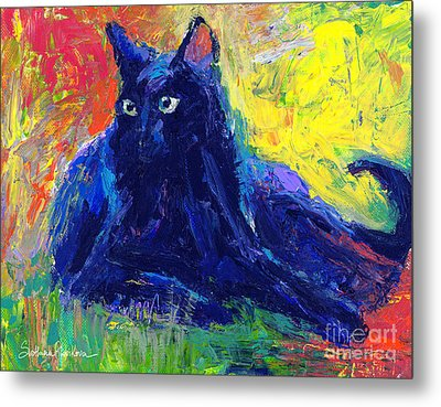 Impasto Black Cat Painting Metal Print by Svetlana Novikova