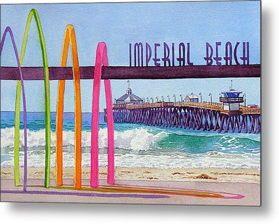 Imperial Beach Pier California Metal Print by Mary Helmreich