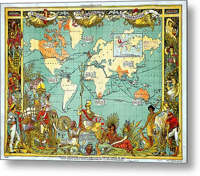 Imperial Federation Map Of The World Showing The Extent Of The British Empire In 1886 Metal Print by Celestial Images