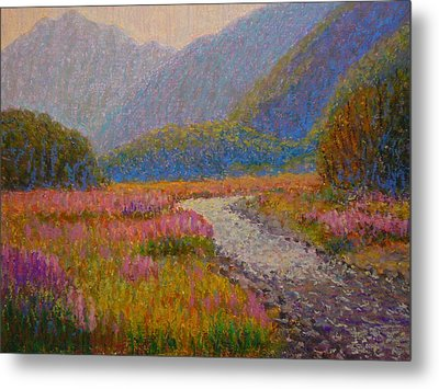 Impression Lupins Cascade Creek Metal Print