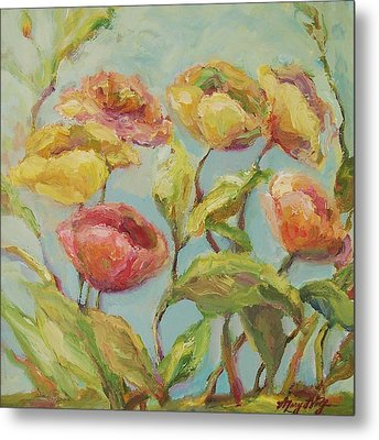 Metal Print featuring the painting Impressionist Floral Painting by Mary Wolf