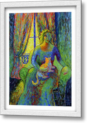 Impressionist Woman And Cat Metal Print by Eve Riser Roberts