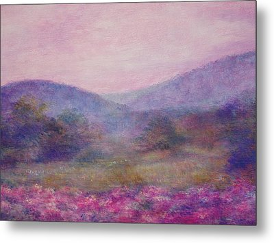 Metal Print featuring the painting Impressionistic Foggy Summer Morning  by Judith Cheng