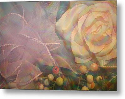 Metal Print featuring the photograph Impressionistic Pink Rose With Ribbon by Dora Sofia Caputo Photographic Art and Design