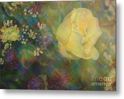 Metal Print featuring the photograph Impressionistic Yellow Rose by Dora Sofia Caputo Photographic Art and Design