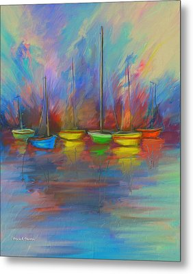 Impressions Of A Newport Beach Sunset Metal Print by Angela A Stanton