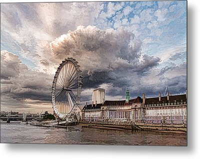 Impressions Of London - London Eye Dramatic Skies Metal Print
