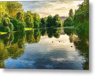 Impressions Of Summer - St James's Park Lake Reflections Metal Print by Georgia Mizuleva