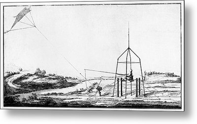 Improvement Of Franklin's Electrical Kite Metal Print by American Philosophical Society