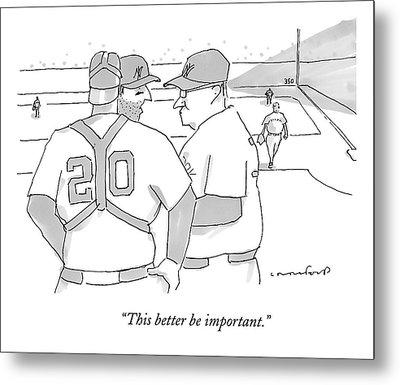 In A Baseball Game Metal Print by Michael Crawford
