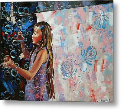 Metal Print featuring the painting In A Country Blue Dragonflies  by Anastasija Kraineva