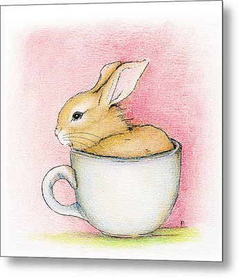 Metal Print featuring the drawing In A Tea Cup by Penny Collins