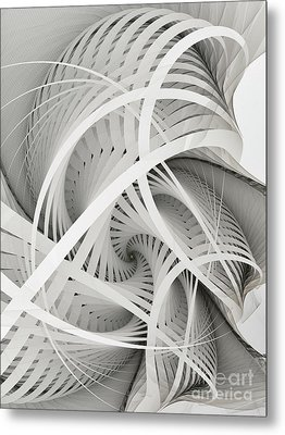 In Betweens-white Fractal Spiral Metal Print by Karin Kuhlmann