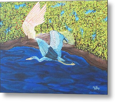 Metal Print featuring the painting In Flight by Cheryl Bailey
