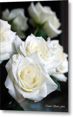 In My Dreams - White Roses Metal Print by Connie Fox