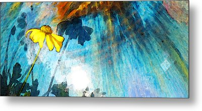 In My Shadow - Yellow Daisy Art Painting Metal Print