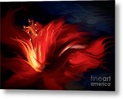 In Red Metal Print by Shanina Conway