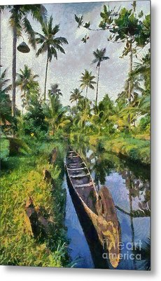 In The Backwaters Of Kerala Metal Print