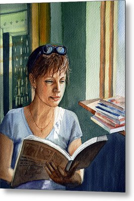 Metal Print featuring the painting In The Book Store by Irina Sztukowski
