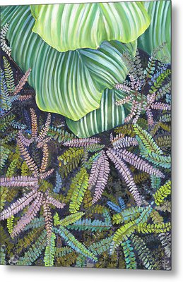 In The Conservatory - 4th Center - Green Metal Print