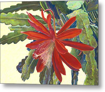 In The Conservatory - 1st Center - Red Metal Print