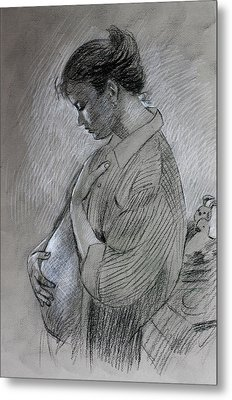 Metal Print featuring the drawing In The Family Way by Viola El