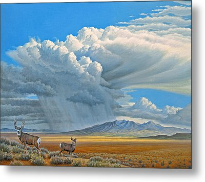 In The Foothills-mule Deer Metal Print