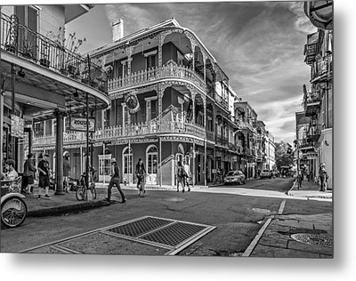 In The French Quarter Monochrome Metal Print by Steve Harrington