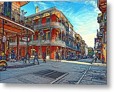In The French Quarter Painted Metal Print by Steve Harrington