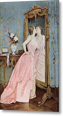 In The Mirror Metal Print by Auguste Toulmouche