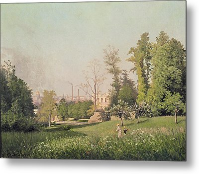 In The Park At Issy-les-moulineaux, 1876 Oil On Canvas Metal Print