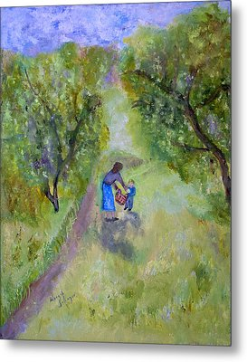 In The Pear Orchard Metal Print by Aleezah Selinger
