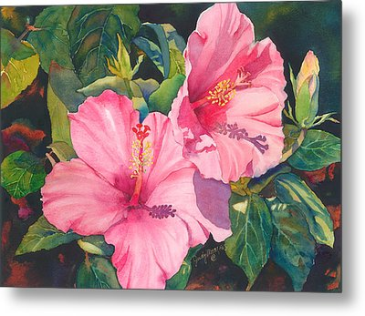 Metal Print featuring the painting In The Pink by Judy Mercer