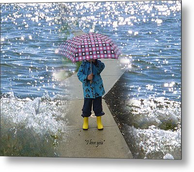 In The Rain I Love You Metal Print by Kim Prowse
