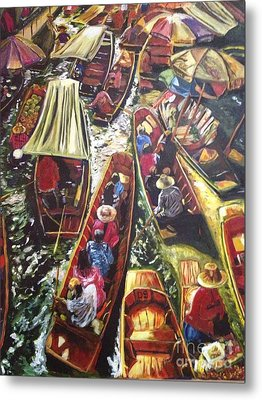 Metal Print featuring the painting In The Same Boat by Belinda Low