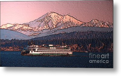 Metal Print featuring the digital art In The Shadow Of A  Mountain by Elaine Ossipov