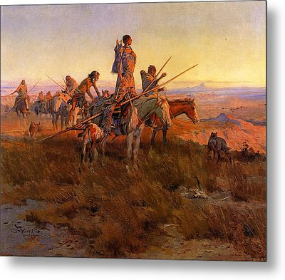 In The Wake Of The Buffalo Hunters Metal Print by Charles Russell