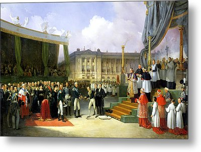 Inauguration Of A Monument In Memory Of Louis Xvi 1754-93 By Charles X 1757-1836 At The Place De La Metal Print by Joseph Beaume