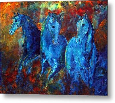 Abstract Horse Painting Blue Equine Metal Print by Jennifer Godshalk