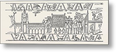 Incidents Copied From The Bayeux Tapestry Metal Print