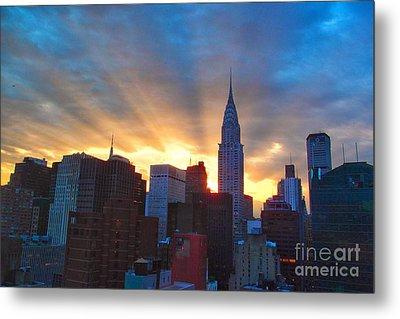 Incredible New York Skyline Sunset Metal Print by Miriam Danar