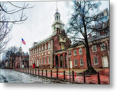 Independence Hall From Chestnut Street Metal Print by Bill Cannon