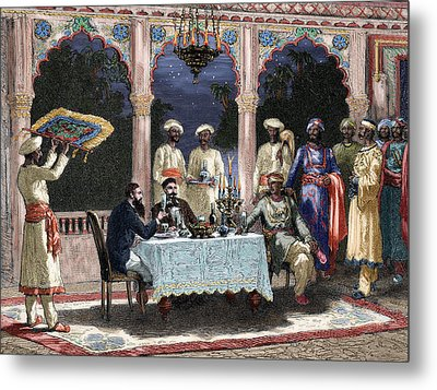 India  British Colonial Era  Banquet At The Palace Of Rais In Mynere Metal Print by Hildibrand